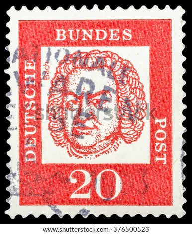 """DZERZHINSK, RUSSIA - JANUARY 18, 2016: A postage stamp of GERMANY shows portrait of Bach, composer, series """"Famous Germans"""", circa 1961 - stock photo"""