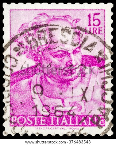 DZERZHINSK, RUSSIA - JANUARY 18, 2016: A postage stamp of ITALY shows head of Prophet Joel from Sistine Chapel, circa 1961 - stock photo