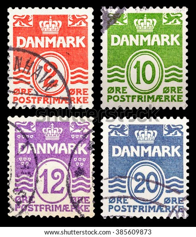 DZERZHINSK, RUSSIA - JANUARY 18, 2016: Set of a postage stamp of GERMANY shows numeric value, circa 1961 - stock photo