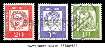 DZERZHINSK, RUSSIA - JANUARY 18, 2016: Set of a postage stamp of GERMANY shows portraits Famous Germans, circa 1961 - stock photo