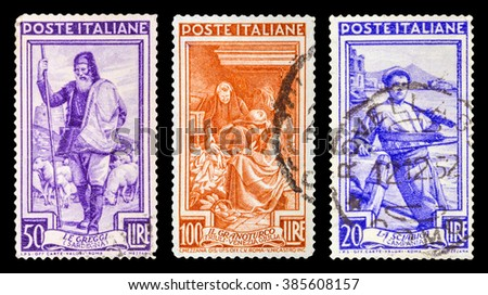 DZERZHINSK, RUSSIA - JANUARY 18, 2016: Set of a postage stamp of ITALY shows work of Italians, circa 1950 - stock photo