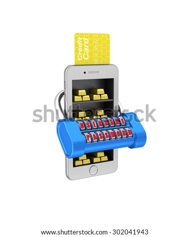 E-banking. Gold brick in the smartphone protected. 3d illustration on a white background. Render. - stock photo