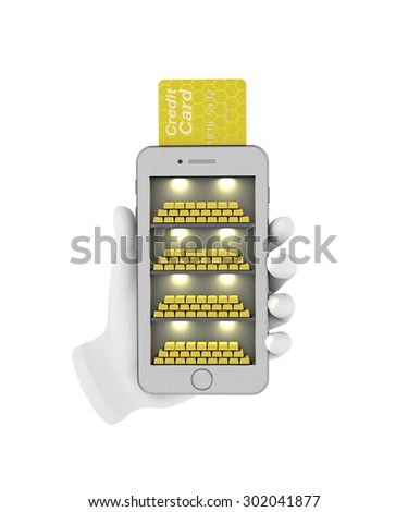 E-banking. Gold bullion in the smartphone. 3d illustration on a white background. Render. - stock photo