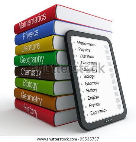 E-book as a replacement for paper books and textbooks - stock photo