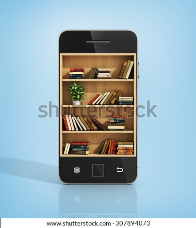 e-book concept. Bookshelf with books in the phone display. - stock photo
