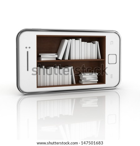 e-book 3d concept - book instead of display on the touch screen phone - stock photo