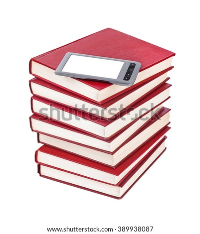 E-book reader and books stack isolated on white background - stock photo