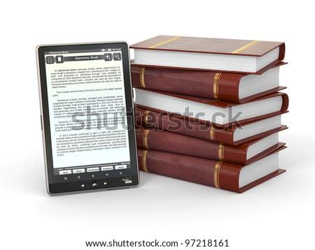 E-book reader and  stack of books on white background. 3d - stock photo