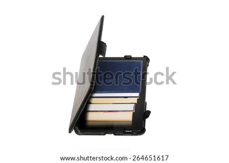 E-book vs old books isolated on the white background. Save your place - stock photo