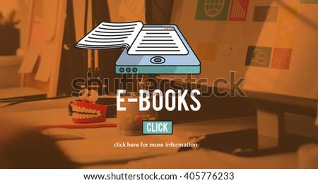 E-Books E-Reader Media Literature Innovation Technology Concept - stock photo