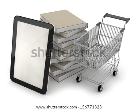 E-bookshop - tablet computer; shopping cart and books - stock photo