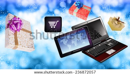 E-Buy in Christmas.Internet Gifts - stock photo