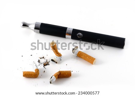 e-cigarette and cigarette butts isolated on white background, vaping against smoking - stock photo