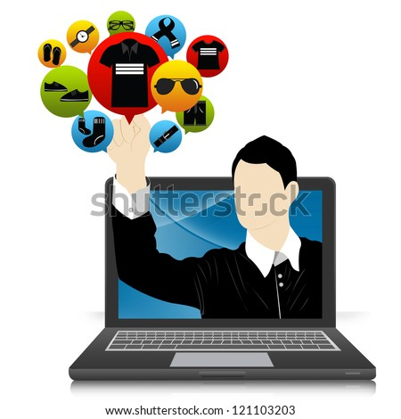 E-Commerce and Online Shopping Concept Present by Computer Notebook With Businessman Pointing to Colorful Men Fashion Icon Isolate on White Background - stock photo