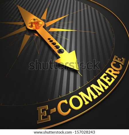 "E-Commerce - Business Background. Golden Compass Needle on a Black Field Pointing to the Word ""E-Commerce"". 3D Render. - stock photo"