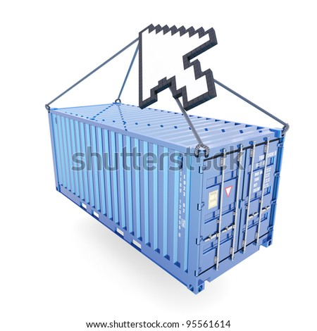 E-commerce container delivery isolated on white - stock photo