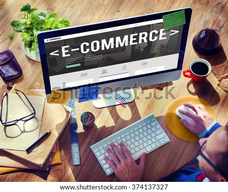 E-Commerce Digital Email Internet Technology Concept - stock photo