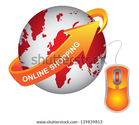 E-Commerce, Internet, Online Marketing, Online Business or Technology Concept Present By Red Earth With Orange Online Shopping Arrow and Orange Mouse Isolated on White Background - stock photo