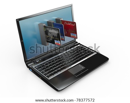 E-commerce. Laptop and credit card on white isolated background. 3d - stock photo