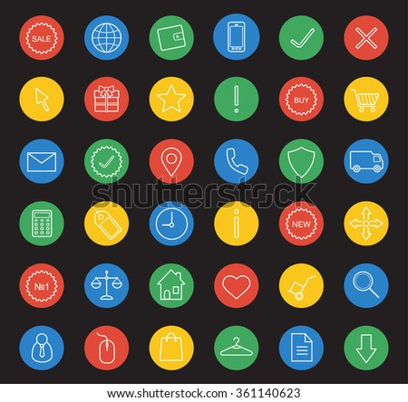 E-commerce linear icons set. White line art illustrations on color circles. Web store round marketing symbols. Online shopping interface items. Price tag and sale badge. Raster infographics elements - stock photo