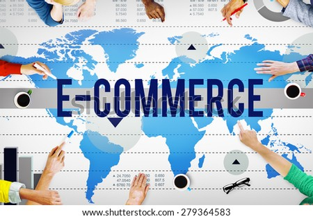 E-Commerce Online Networking Technology Marketing Business Concept - stock photo