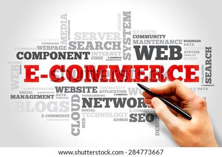 E-COMMERCE word cloud, business concept - stock photo