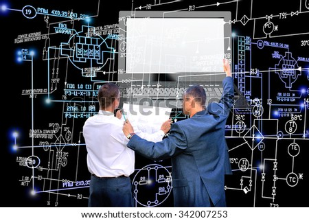 E-connection engineering technology.Working Engineer designer - stock photo
