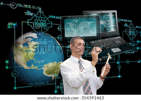 E-designing engineering technology.Working Engineer - stock photo