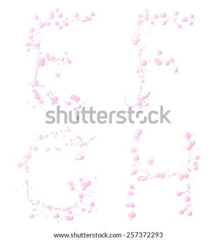 E, F, G, H letter set made with the drops and spills of the oil paint, isolated over the white background - stock photo