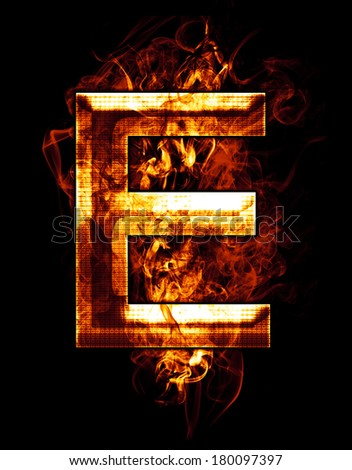 e, illustration of  letter with chrome effects and red fire on black background - stock photo