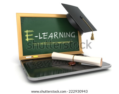 E-laerning education concept. Laptop with chalkboard, mortar board and diploma. 3d - stock photo