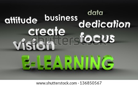 E-Learning at the Forefront in 3d Presentation - stock photo