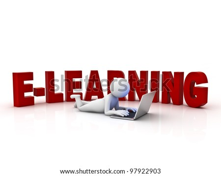 E-learning concept on white background - stock photo