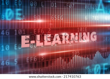 E-learning concept red text red background - stock photo