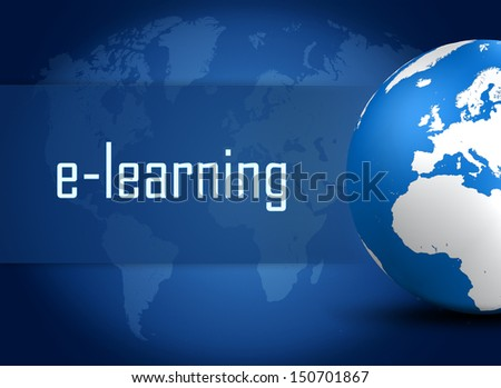 E-learning concept with globe on blue world map background - stock photo