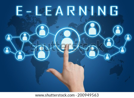 E-learning concept with hand pressing social icons on blue world map background. - stock photo
