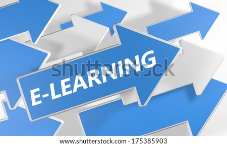 E-learning 3d render concept with blue and white arrows flying over a white background. - stock photo