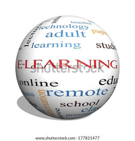 E-Learning 3D sphere Word Cloud Concept with great terms such as classes, online, eductiona and more. - stock photo