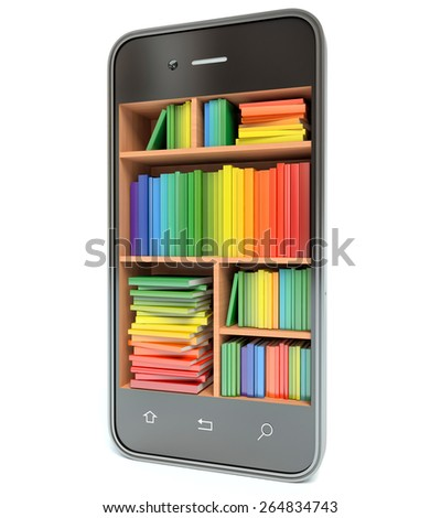 E-learning education or internet library concept. Smartphone and books. 3d - stock photo