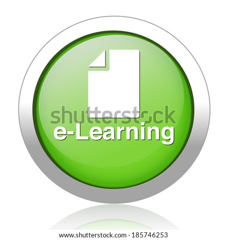 e-learning green square web glossy icon  - stock photo