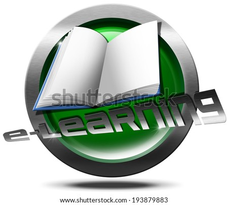 "E-Learning Icon / Metallic and green Icon or button with empty book and written ""e-learning"" - process of online learning - stock photo"
