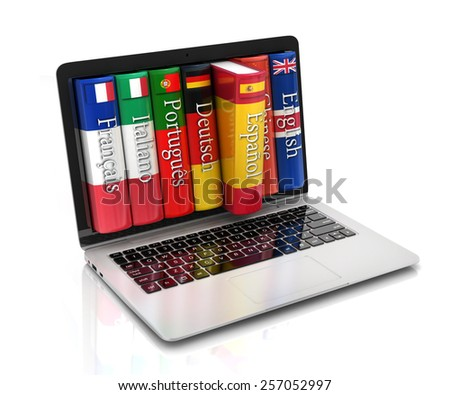 e-learning - learning languages online - stock photo