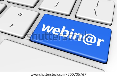 E-learning online education and workshop concept with webinar sign and word on a blue computer key for blog, website and online business. - stock photo
