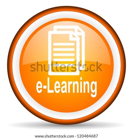 e-learning orange glossy circle icon on white background - stock photo