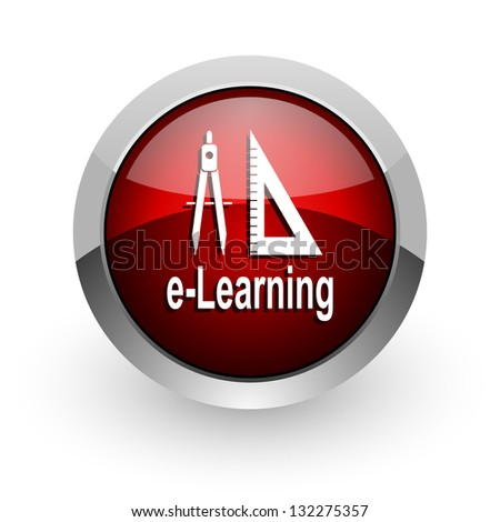 e-learning red circle web glossy icon - stock photo