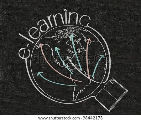 e learning with world map written on blackboard background high resolution - stock photo