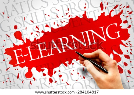E-LEARNING word cloud, education business concept - stock photo