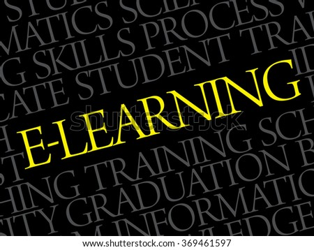 E-LEARNING Word cloud education concept background - stock photo
