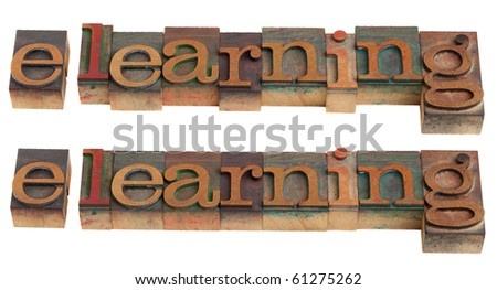 e-learning word in vintage wooden letterpress printing blocks, isolated on white - stock photo