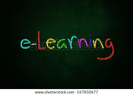 e-learning word written with color chalk on blackboard - stock photo